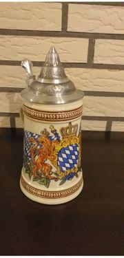 Keramikkrug Bierkrug Bayern mit Zinndeckel