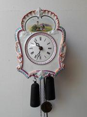 Antike Schwarzwald Porzellan-Schild Uhr