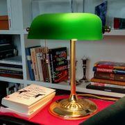 Bankers-Lamp Schreibtischlampe Grüner Glasschirm Metall