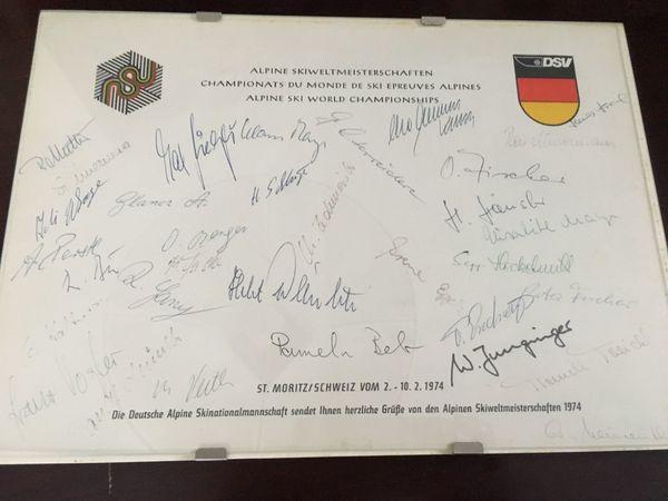 Original-Unterschriften der deutschen Ski-Mannschaft St