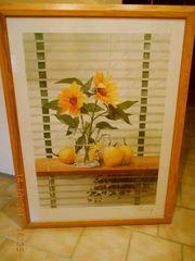 Bild mit Sonnenblumen und Obst