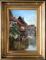 MeisterGemälde AUGUST FISCHER 1854 Kahnpartie
