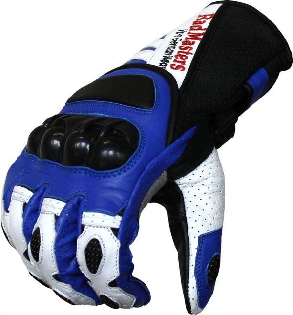 Motorradhandschuhe Rindsleder Blau Weiß Schwarz