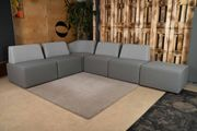 Couch Eckcouch Stoff Grau Gesamtgröße