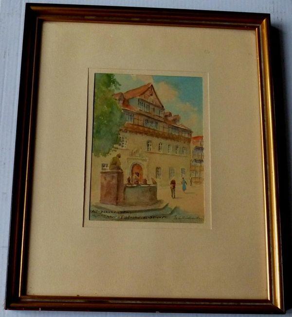 Braunschweig tolles altes Gemälde Aquarell