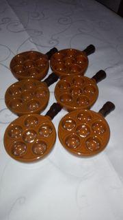 6er Set Vintage Keramik Schneckenpfännchen