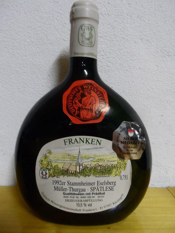 Boxbeutel Wein Flasche - 1992 Stammheim er