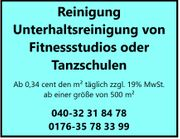 Unterhaltsreinigung von Fitnessstudios Tanzschulen ab