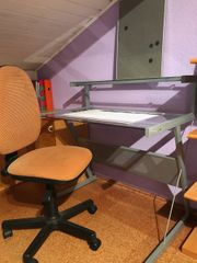 Schreibtisch Metall Glas mit Bürostuhl