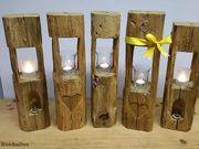 Windlicht Holzbalkenlicht Balkensäule Lichtsäule Holzbalken