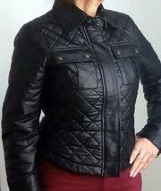 Jacke Lederjacke Kunstleder schwarz Gr