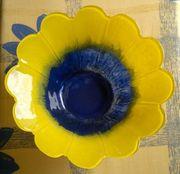 Schüssel Glasschüssel Gelb Blau Neuwertig