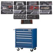 Werkstattwagen blau gefüllt 5 Schubladen
