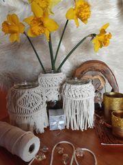 Makramee Windlicht Blumenvase mit Perlen