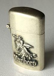 Marlboro Sturmfeuerzeug Antiksilber mit Reiter