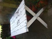 alter Gartentisch - shabby weiss - 160