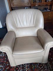 Ledersofa 3 sitzer mit Sessel