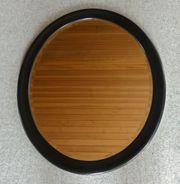 Ovaler Wandspiegel aus Holz in schwarz