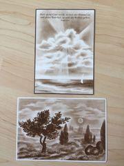 2 Ansichtskarten Zeichenkunst um 1960