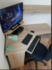 Eck-Schreibtisch Eck-Bürotisch mit Stuhl Lampe