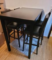 Schwarzer Hochtisch Esstisch 110x70cm Inklusive