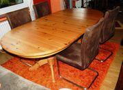 Küchentisch massivholz oval mit Einlegeplatte