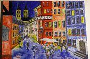 Bamberg Sandstrasse Acrylgemälde naiv