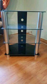 TV Rack Glas gebürsteter Edelstahl