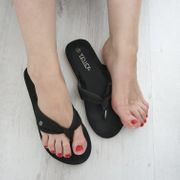 Flip-Flops schwarz Größe 38 getragen