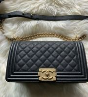 Chanel Boy Black Caviar Gold