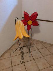 2 Stehlampen Blumen gusseisern handgefertigt