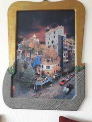 Großer Kunstdruck Hundertwasserhaus mit bemaltem