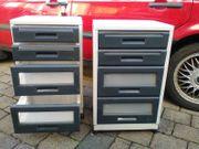 zwei Rollcontainer Kunststoff 4 Schubladen