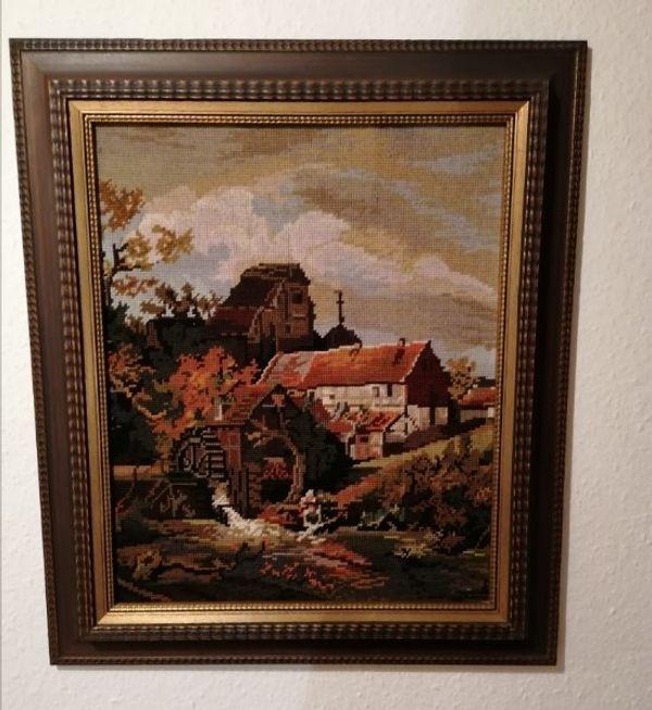 Goblin Stickbild mit schönem Holzrahmen
