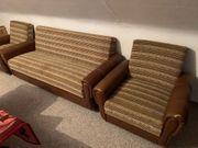 Bett-Couch mit 2 Sesseln 1970er-Jahre