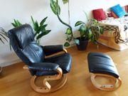 Relax-Sessel mit Fußteil in echt