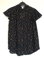 Bluse T-Shirt Blumen Muster Dunkelblau