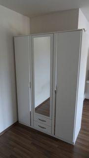 KLEIDERSCHRANK 3-türig weiß mit Spiegel