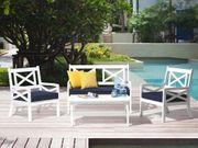 Gartenmöbel Set Holz weiß 4-Sitzer