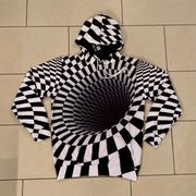 NEU Dünner Herren-Kapuzenhoodie Sweatshirt schwarz-weiß
