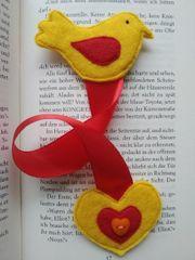 Lesezeichen aus Filz Vogel handmade