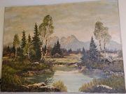 Ölgemälde Ludwig Wiedemann Voralpen-Landschaft Bayern