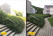 Gartenarbeit Rodung Hecke schneiden Wiese