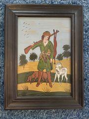 Hinterglasbild Jäger mit Hunden