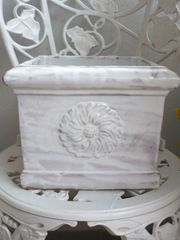 Übertopf Blumenübertopf Terrakotta weiss glasiert
