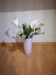 Vase aus Glas mit Callas
