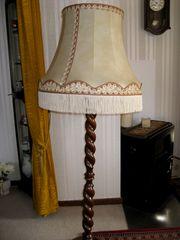 Stehlampe mit Stoff-Schirm Retro antik