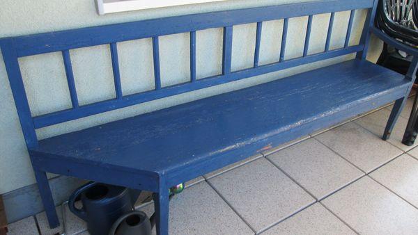 Holzbank antik blau für Balkon