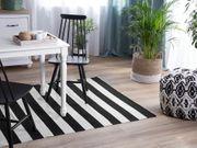Outdoor Teppich schwarz-weiß 140 x