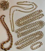 Modeschmuck Halsketten lang 7 Teile
